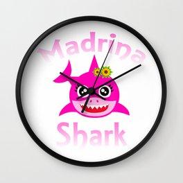 Madrina Shark Funny Spanish Godmother Gift T-Shirt Wall Clock