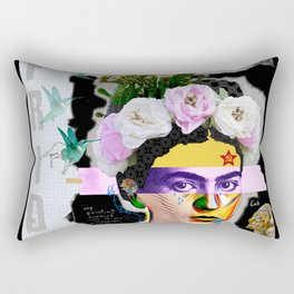 Frida Kahlo Portrait Abstract Pop Collage Art by Michel Keck Rectangular Pillow