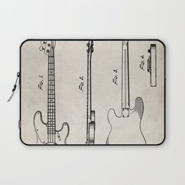 Bass Guitar Patent - Bass Guitarist Art - Antique Laptop Sleeve