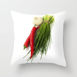 A bunch of fresh chives and vegetables over white Throw Pillow