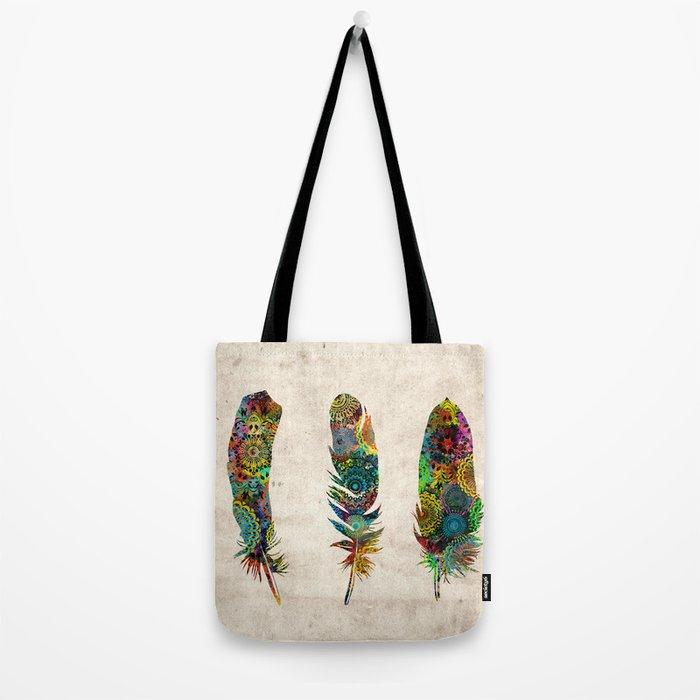 mandala vintage feathers Tote Bag