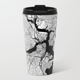 Boston Black and White Map Travel Mug