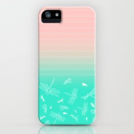 Dragonfly, Pink and Green Blush iPhone Case