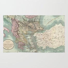 Vintage Map of The Balkans and Turkey (1801) Rug