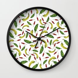 Jalapeno, Banana and Chile Peppers Wall Clock
