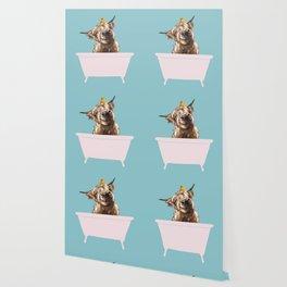Playful Highland Cow in Bathtub Wallpaper
