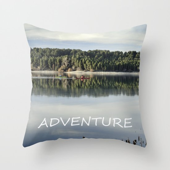 Adventure. Canoeing on the lake.  Throw Pillow