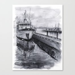 Kirkland Marina Waterfront Boat Watercolor Seattle Canvas Print