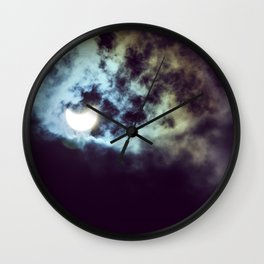 cloudy solar eclipse Wall Clock