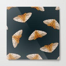 moth seamless pattern on dark everglade  | nocturnal wildlife garden illustration Metal Print