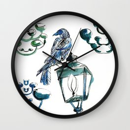 Blue crow Wall Clock