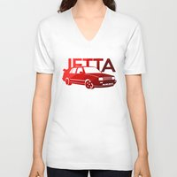 volkswagen V-neck T-shirts featuring Volkswagen Jetta - classic red - by Vehicle