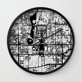 Beijing city map black and white Wall Clock