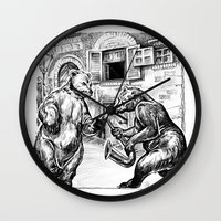 bears Wall Clocks featuring Bears by Natalie Berman