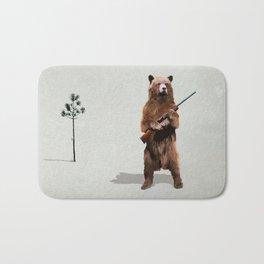 Bear with a shotgun Bath Mat
