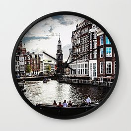 Amsterdam Canals and Fair Weather Clouds Wall Clock