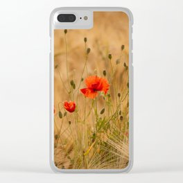 Golden cornfield with poppies Clear iPhone Case