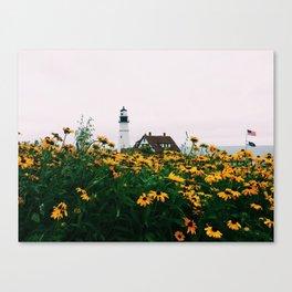 Portland Headlight and Flowers Canvas Print