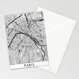 Paris Black and White Map Stationery Cards