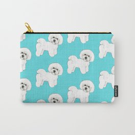 Bichon Frise on aqua / teal / cute dogs/ dog lovers gift Carry-All Pouch
