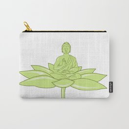 Buddha Sitting on Lotus Flower Drawing Carry-All Pouch