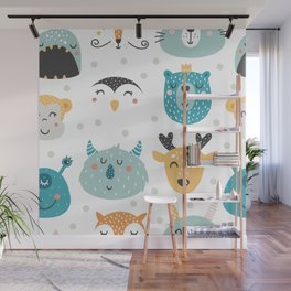 Baby Animals - Fantasy and Woodland Creatures Pattern Wall Mural