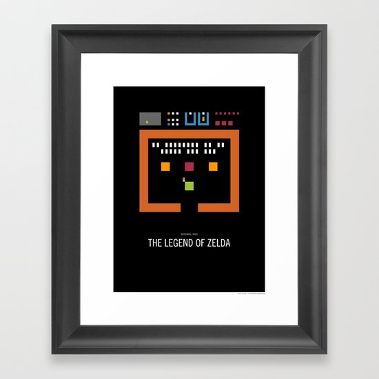 Minimal NES - The Legend of Zelda Framed Art Print