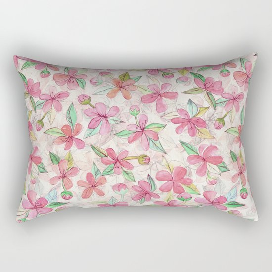 Pink Painted Blossom Pattern Rectangular Pillow