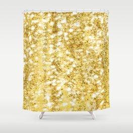 Gold glitter rain Shower Curtain