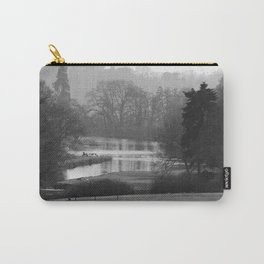 Misty Lake in UK by Larry Simpson BW Photo Carry-All Pouch