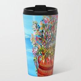 Santorini terrace flowers pot Travel Mug