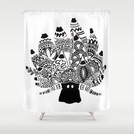 Shaun the sheep Nudibranch in black Shower Curtain