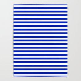 Cobalt Blue and White Thin Horizontal Deck Chair Stripe Poster