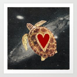space turtle in love Art Print