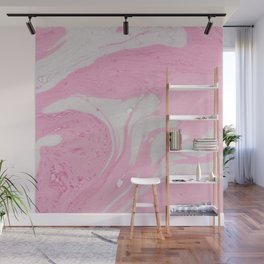 Soft Pink Marble with Cream Swirls Wall Mural