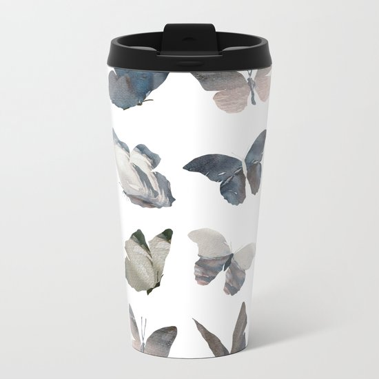 Butterfly Pattern Metal Travel Mug