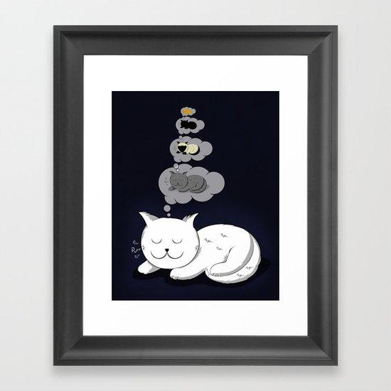 A cat dreaming of a cat that dreams of dreaming of a cat that dreams of dreaming of a cat. Framed Art Print