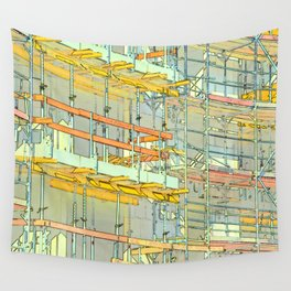 Construction site scaffolding in Berlin Wall Tapestry
