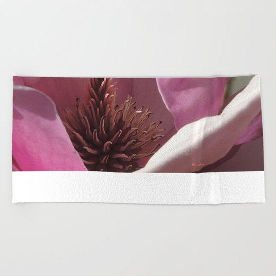 Magnolia Blossom Heart Beach Towel
