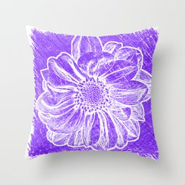 White Flower On Purple Crayon Throw Pillow