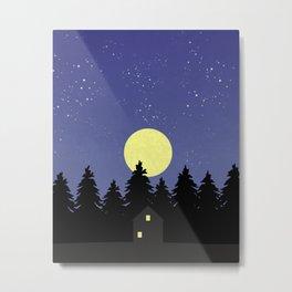 Starry Moonlit Night Sky Forest Metal Print