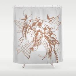 Bronze Animal Skull Abstract Vector Art Shower Curtain