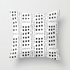 mudcloth 16 minimal textured black and white pattern home decor minimalist beach Throw Pillow