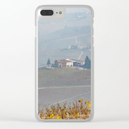 Scenic view of the freshly harvested grape fields in autumn in Barolo valley Clear iPhone Case