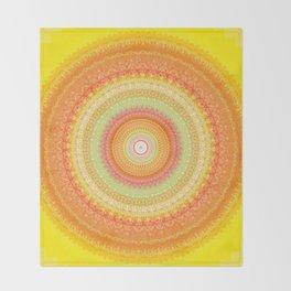 Bright Yellow Orange Mandala Throw Blanket