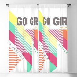 Feminist geometric go girl motivational pink Blackout Curtain