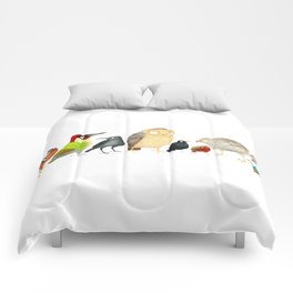 Woodland Bird Collection in white Comforters
