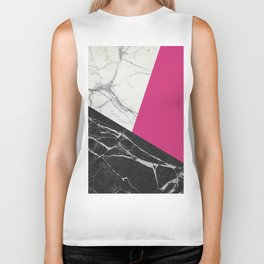 Black and White Marble with Pantone Pink Yarrow Biker Tank