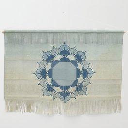 Lotus Mandala Light Blue Center Sand Water Wash Wall Hanging