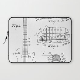 Gibson Guitar Patent - Les Paul Guitar Art - Black And White Laptop Sleeve
